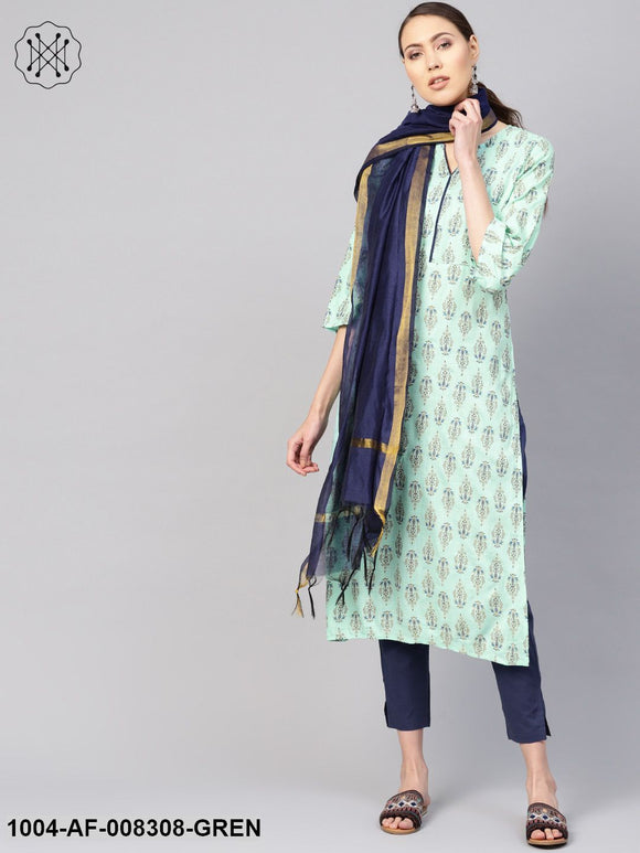 Sea Green And Blue Printed 3/4Th Sleeve Straight Kurta With Ciggratte Pants And Dupatta.