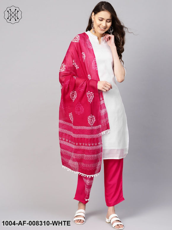 White And Pink 3/4Th Embroidered Sleeve Straight Kurta With Pants And Printed Dupatta.