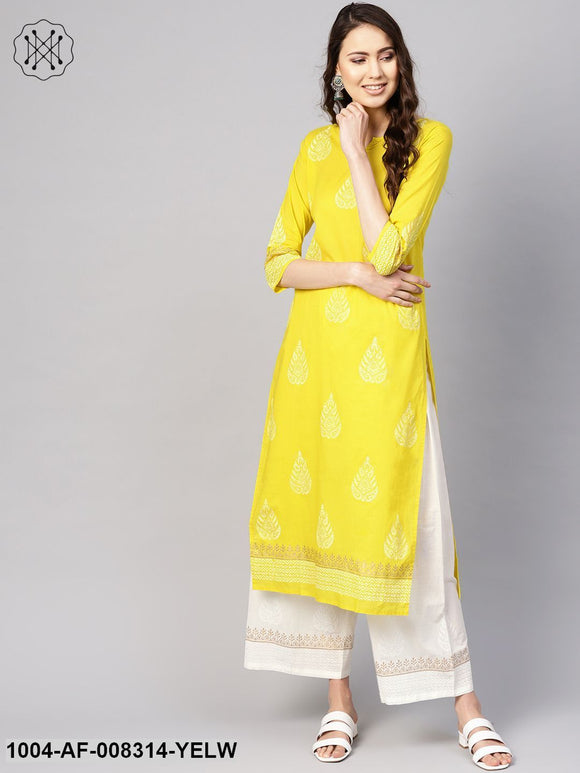 Yellow And White Block Printed Round Neck With V-Slit 3/4Th Sleeves Straight Kurta With Palazzo.