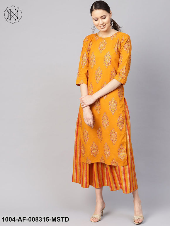 Ochre Yellow Gold Printed Round Neck 3/4Th Sleeve Straight Kurta With Striped Skirt.
