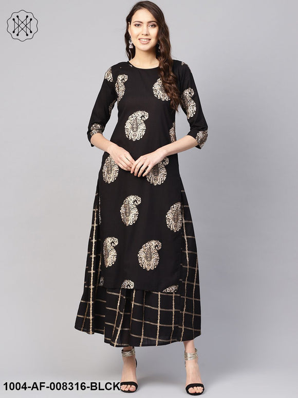 Black Gold Printed Round Neck 3/4Th Sleeves Straight Kurta With Skirt