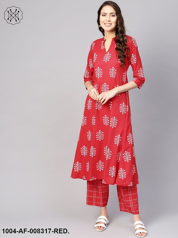 Red Printed V-Slit Neck 3/4Th Sleeves A-Line Kurta With Pants.