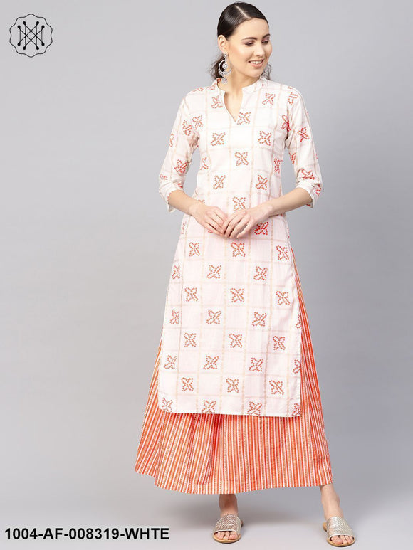 White And Orange Bandhej Printed 3/4Th Sleeve Straight Kurta With Skirt.