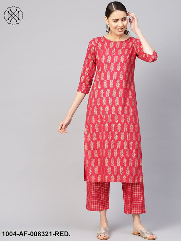 Coral Gold Floral Printed Round Neck 3/4Th Sleeves Straight Kurta With Pants.