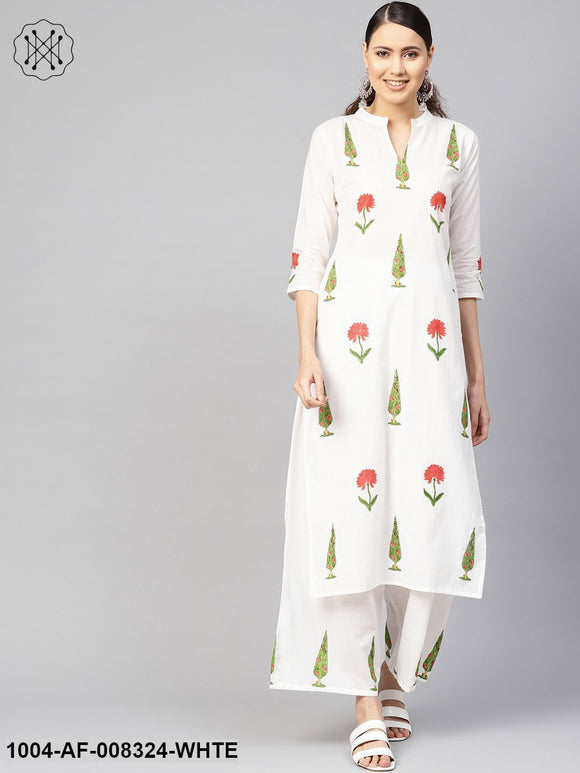 White Printed 3/4Th Sleeves Staright Kurta With Pants.