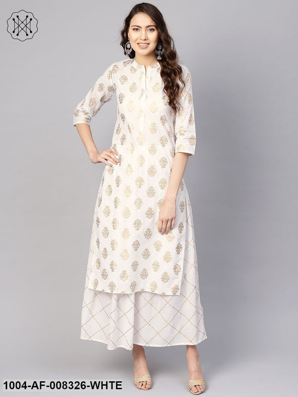 White Gold Printed 3/4Th Sleeves Straight Kurta With Skirt.