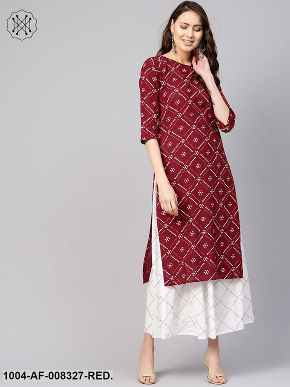Red And White Bandhej Printed Round Neck 3/4Th Sleeves Straight Kurta With Skirt.