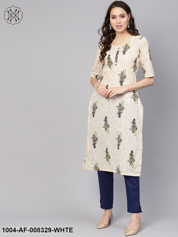 White Multi Colored Printed Straight Kurta With Solid Navy Blue Cigarette Pants