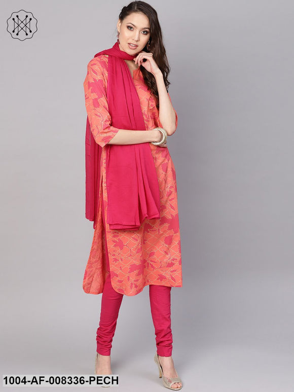 Peach & Burgundy Gold Printed Straight Kurta With Solid Burgundy Churidar & Dupatta