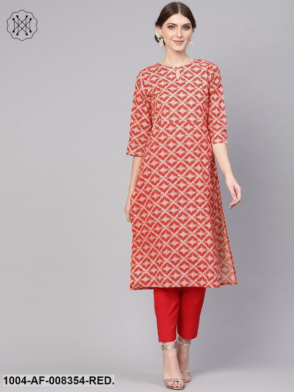 Red Geometrical Printed Round Neck 3/4Th Sleeve Kurta With Cigratte Pant