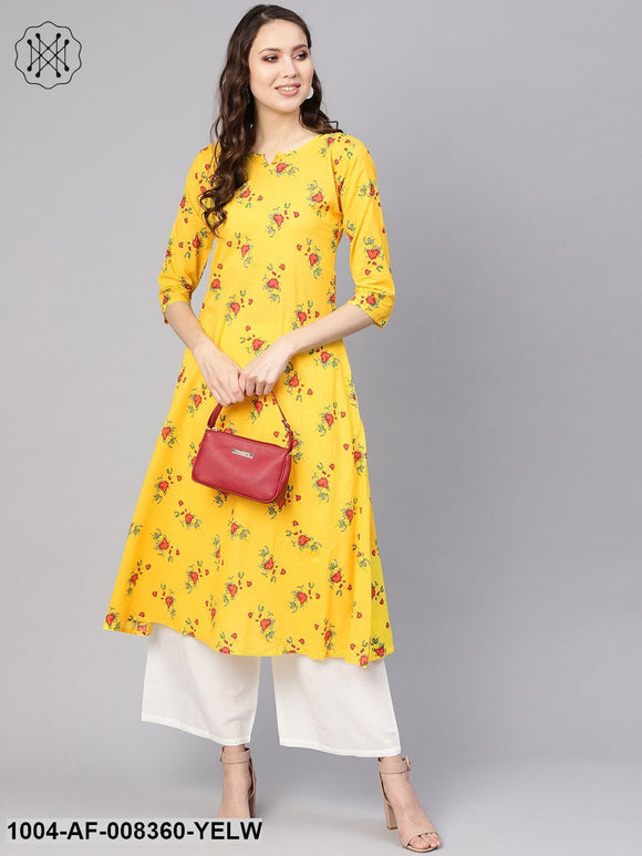 Yellow Floral Printed 3/4Th Sleeve A-Line Kurta With White Palazzo