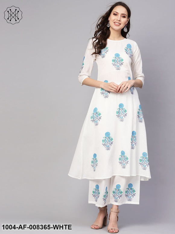 White Printed 3/4Th Sleeve Cotton A-Line Kurta With Palazzo