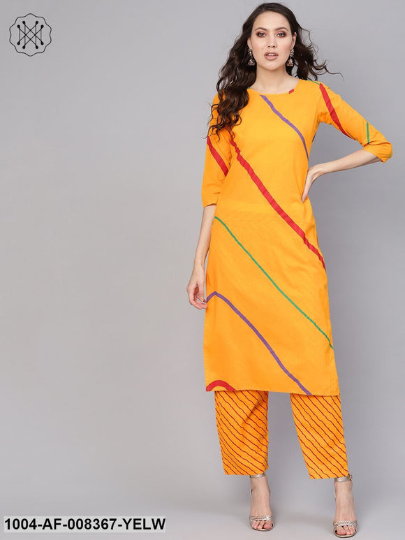 Yellow Lehriya 3/4Th Sleeve Cotton Straight Kurta With Striped Pant