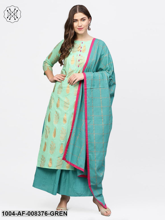 Green Gold Printed 3/4Th Sleeve Cotton Kurta With Blue Flared Skirt And Printed Dupatta