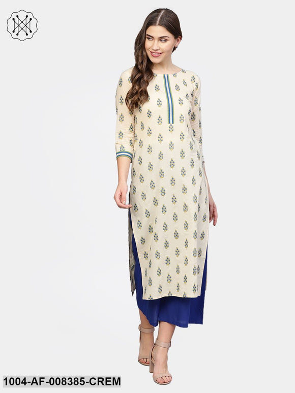 Cream Printed 3/4Th Sleeve Cotton Kurta With Blue Flared Palazzo