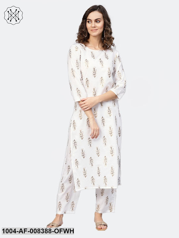 Off White 3/4Th Sleeve Cotton Printed Kurta With Printed Trouser
