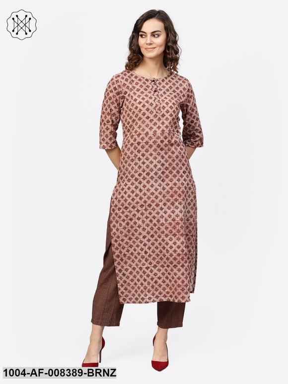Bronze Check Printed 3/4Th Sleeve Cotton Straight Kurta With Brown Trouser