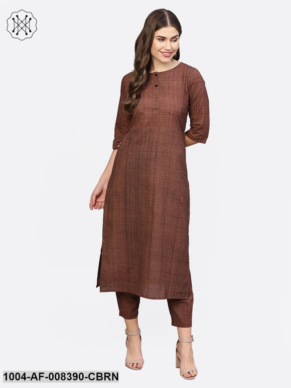 Coffee Brown Printed Half Sleeve Cotton Straight Kurta With Trouser