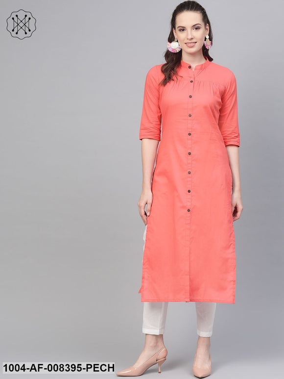 Solid Peach Kurta With Gathered Detailing With Solid White Pants