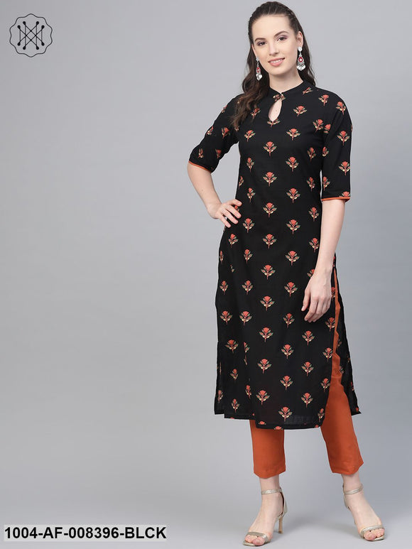 Black & Rust Orange Multi Floral Printed Kurta & Solid Pants