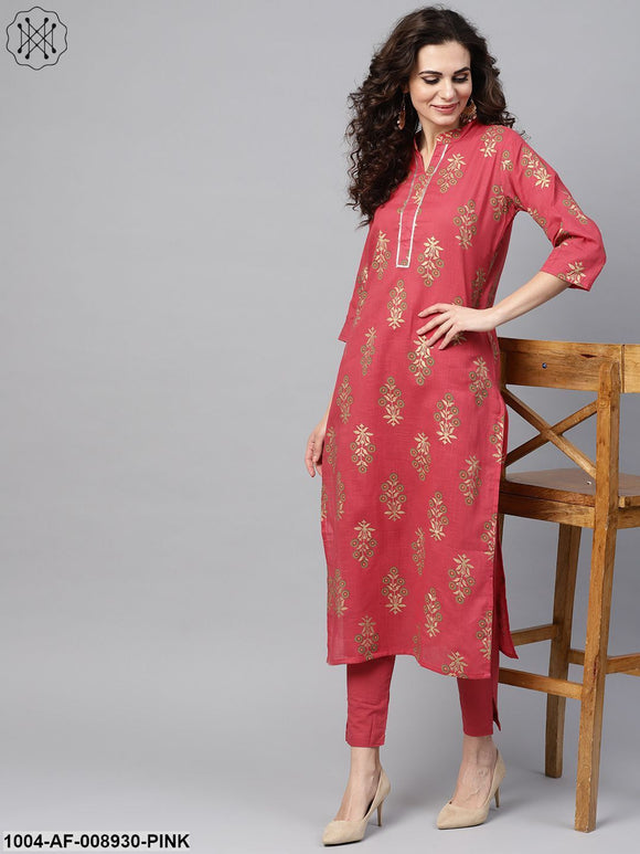 Pink Gold Printed Straight Kurta Set & Pants Embellished With Got to
