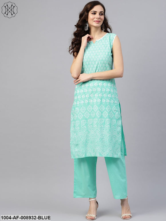 Sky Blue Sleeveless Printed Kurta Set With Solid Pants