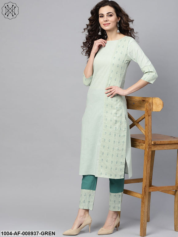 Pastel Green Straight Kurta Set With Solid Teal Green Pants & Dobby Printed Detailing