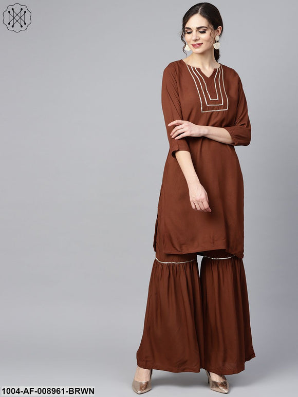 Solid Brown With Goat Detailing Straight Kurta And Sahara With Printed Dupatta