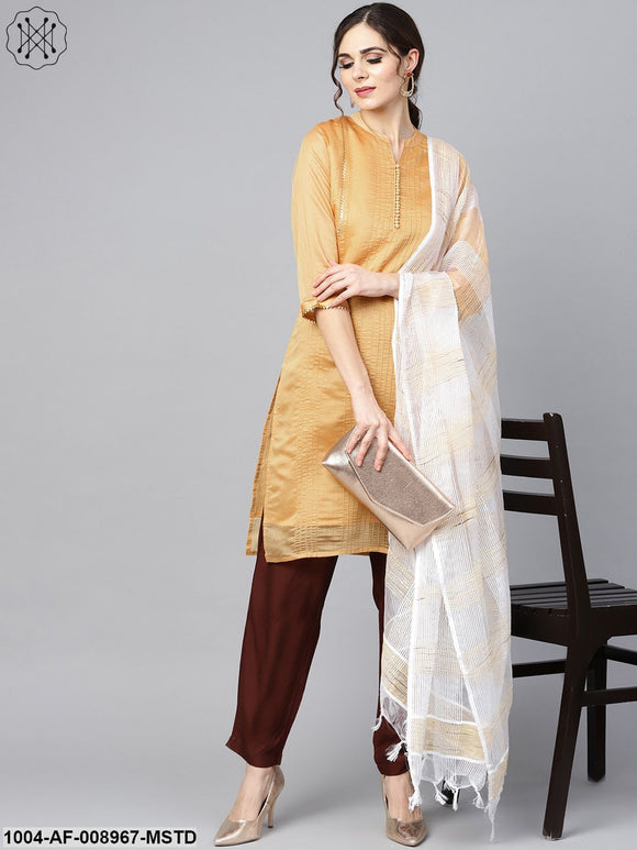 Mustard Brown Chander Straight Kurta With Lining With Solid Chocolate Brown Rayon Pants With Katarina Dupatta