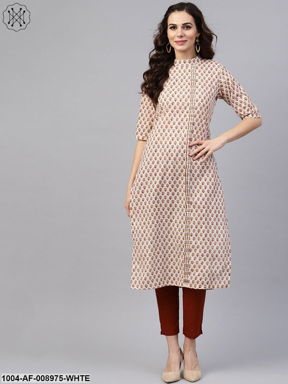 White Printed Closed Collar With Back Slit Opening 3/4Th Sleeve Front Pleated Kurta With Side Pockets With Solid Cigarette Pants