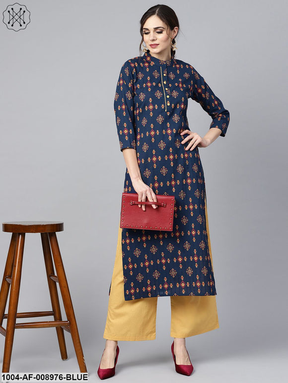 Navy Blue Geometric Printed 3/4Th Sleeve Kurta Set With Solid Yellow Pants