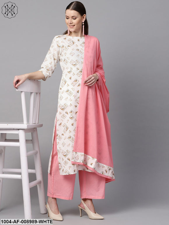White Printed 3/4Th Sleeve Kurta With Solid Baby Pink Palazzo & Dupatta