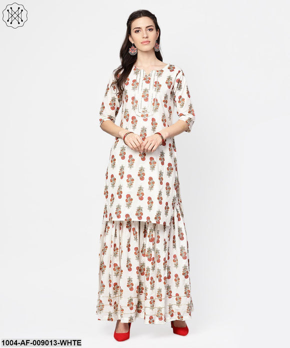White Printed Half Sleeve Cotton Kurta With Sahara And Solid Orange Dupatta
