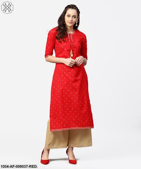 Red 3/4Th Sleeve Dot Printed Cotton Kurta With Beige Palazzo