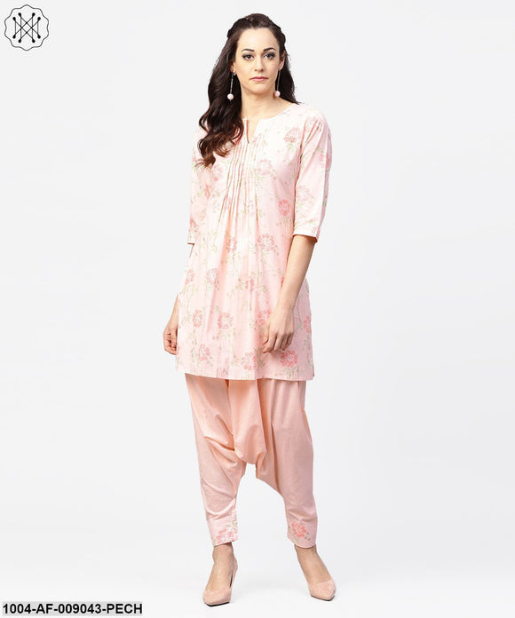 Peach Printed 3/4Th Sleeve Pleated Kurti With Ankle Length Block Printed Salwar