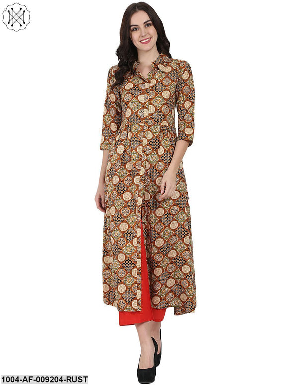 Rust Printed 3/4Th Sleeve Cotton A-Line Kurta With Red Tulip Pant