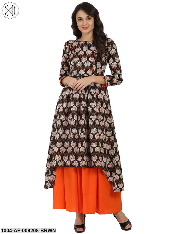 Brown Printed 3/4Th Sleeve Cotton A-Line Kurta With Orange Flared Skirt