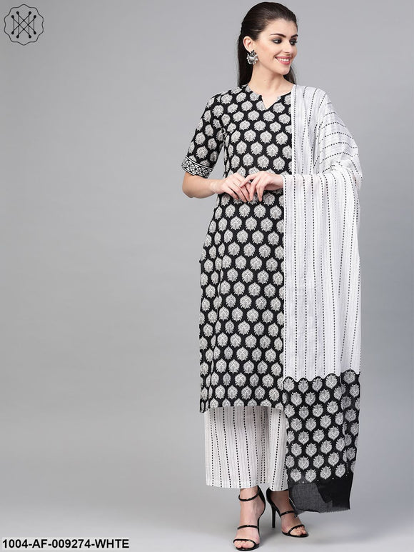 Women Black & White Straight Ethnic Motifs Printed Kurta And Palazzos Set With Dupatta
