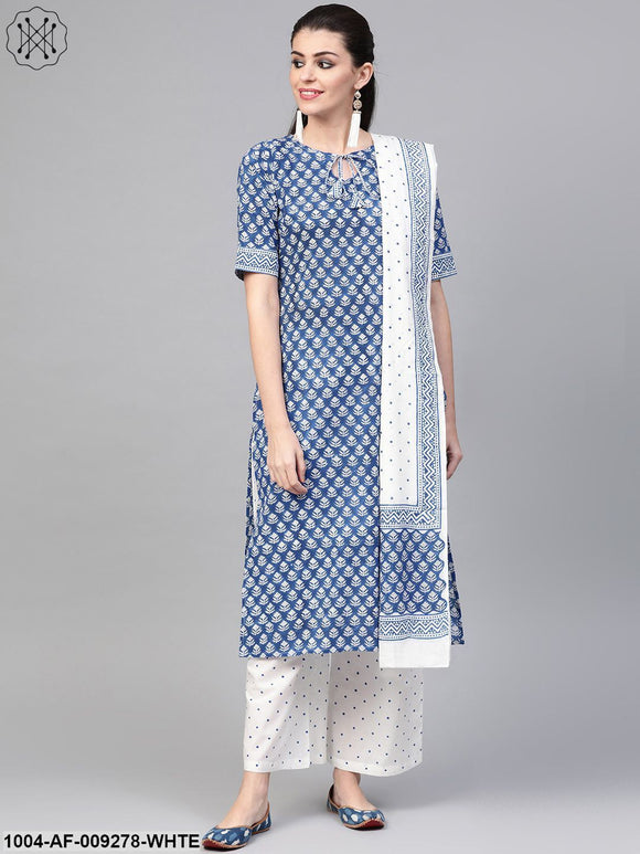 Women Blue & White Straight Floral Printed Kurta And Palazzos Set With Dupatta