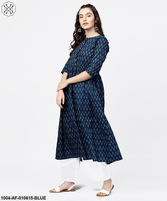 Women Blue Three-Quarter Sleeves Round Neck Straight Pure Cotton Kurta And Palazzos Set