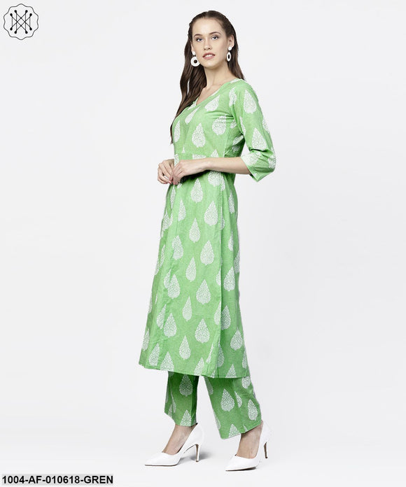 Women Green Three-Quarter Sleeves V-Neck A-Line Pure Cotton Kurta And Palazzos Set