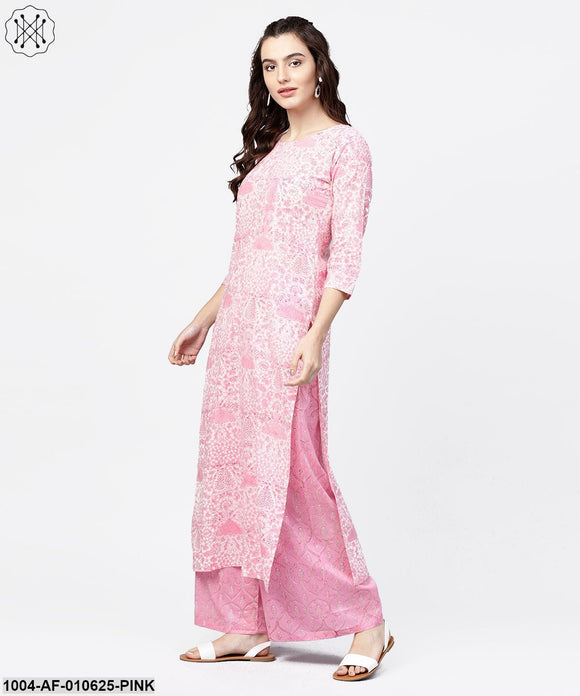 Women Pink Three-Quarter Sleeves Round Neck Straight Pure Cotton Kurta And Palazzos Set
