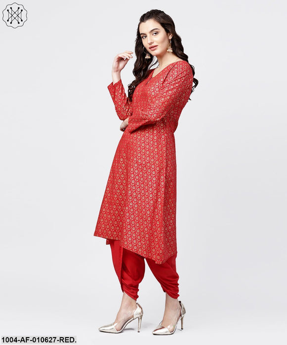 Women Red Three-Quarter Sleeves V-Neck A-Line Pure Cotton Kurta And Dhoti Pants Set