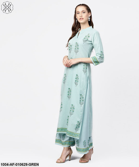 Women Green Three-Quarter Sleeves Mandarin Collar Straight Pure Cotton Kurta And Palazzos Set