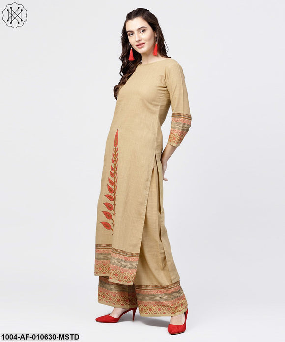 Women Mustard Three-Quarter Sleeves Round Neck Straight Pure Cotton Kurta And Palazzos Set