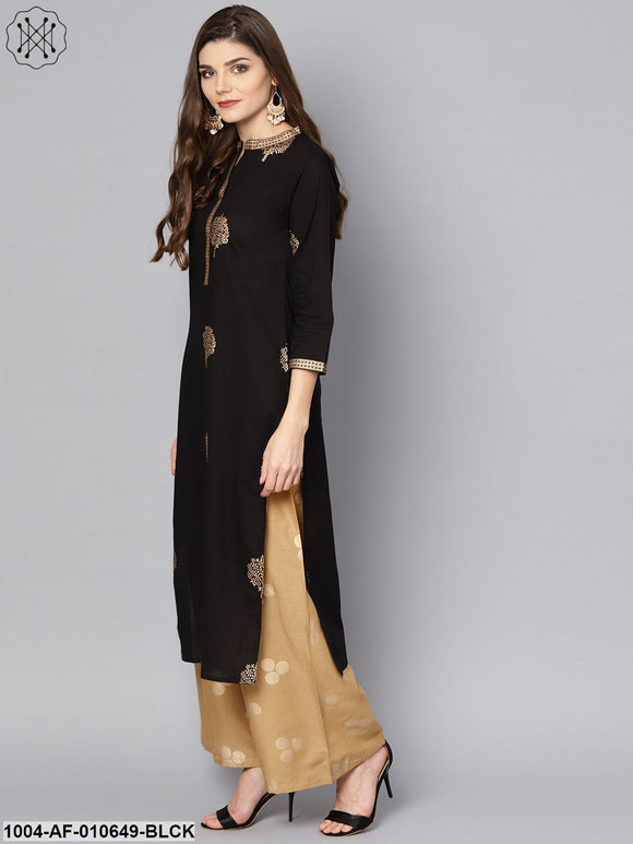 Women Black Three-Quarter Sleeves Mandarin Collar Straight Pure Cotton Kurta And Palazzo Set