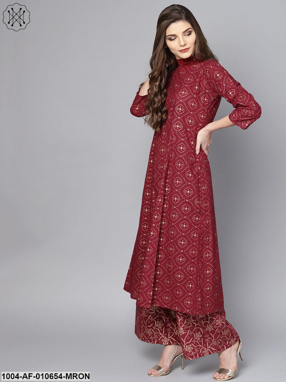 Women Maroon Three-Quarter Sleeves Round Neck A-Line Pure Cotton Kurta And Palazzo Set