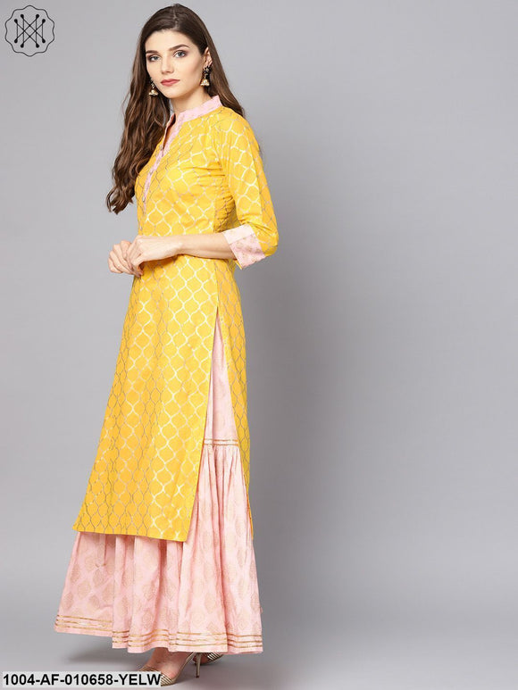 Women Yellow Three-Quarter Sleeves Mandarin Collar Straight Pure Cotton Kurta And Palazzo With Dupatta Set