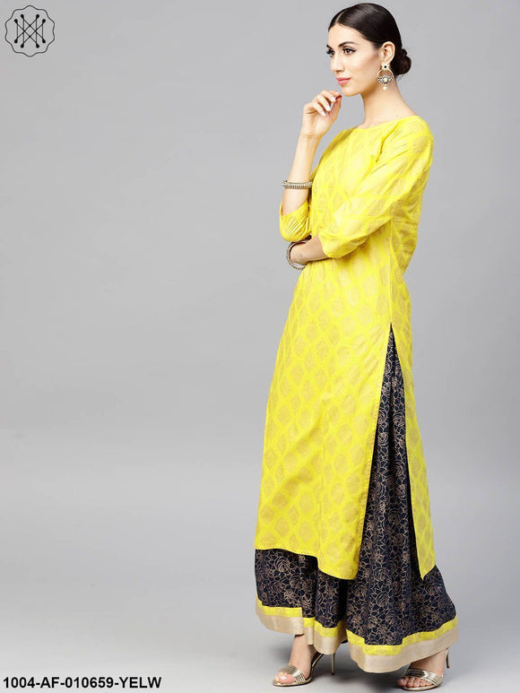 Women Yellow Three-Quarter Sleeves Round Neck Straight Pure Cotton Kurta And Skirt Set