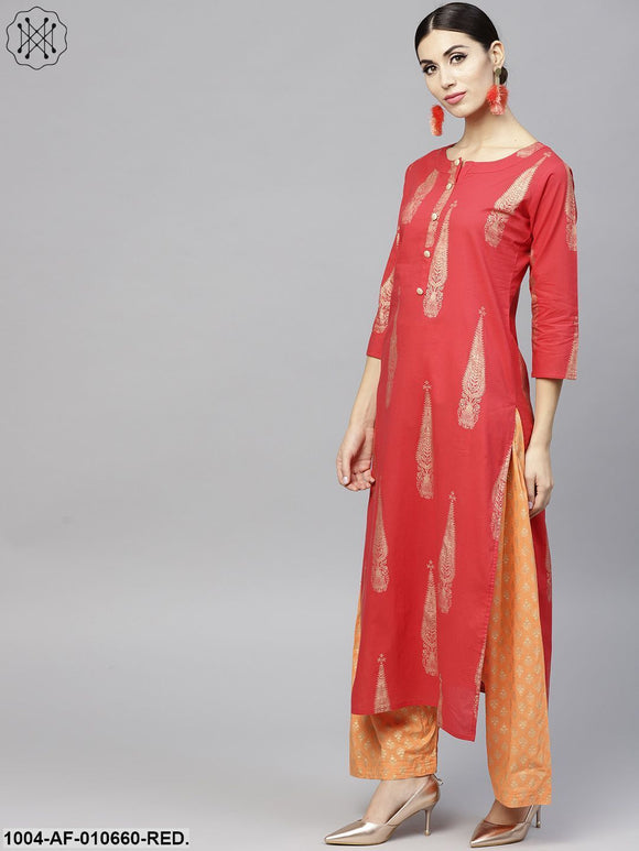 Women Red Three-Quarter Sleeves Round Neck Straight Pure Cotton Kurta And Palazzo With Dupatta Set